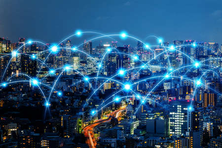 Communication network of urban city. Smart city. Internet of Things. IoT. Stock fotó