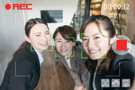 Video selfie. Facial recognition system of video camera. Interface of mobile camera app. Stock Photo