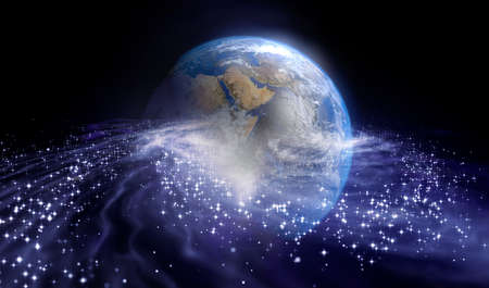 Planet earth and galaxy concept. 3D rendering. Reklamní fotografie