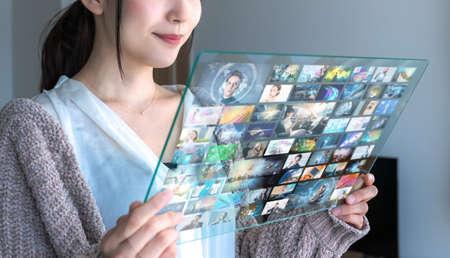 Video streaming service concept. Social media.
