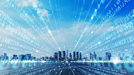 Smart city and digital communication concept. binary code.