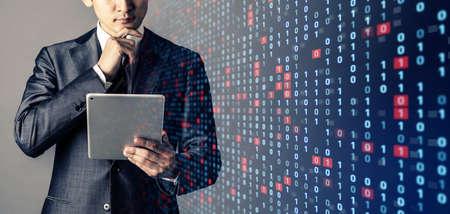 Businessman and binary codes. Network security concept. Foto de archivo - 151917772