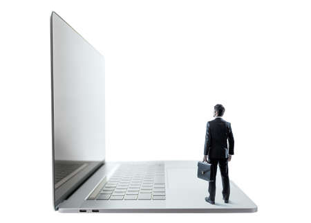 business person on laptop PC Stock Photo