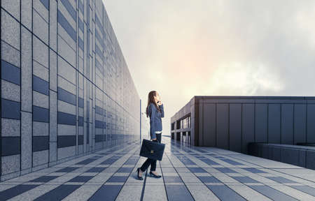 business woman standing on modern building.