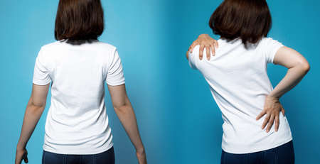 Good posture and bad posture. chiropractic before after image. woman's body and backbone.