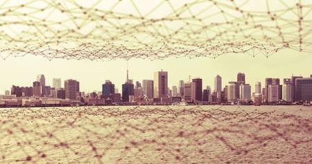 Modern city and communication network, Smart City. Internet of Things. Information Communication Network. Sensor Network. Smart Grid. Conceptual abstract.