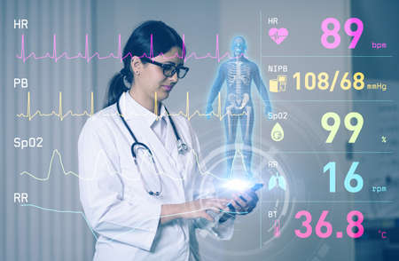 hispanic woman doctor and medical technology. Internet of Things. 3D rendering. Reklamní fotografie