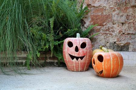 necromancer: Halloween pumpkin lanterns in the park