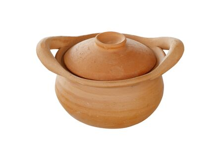 clay pot: Clay pot on isolated white background Stock Photo