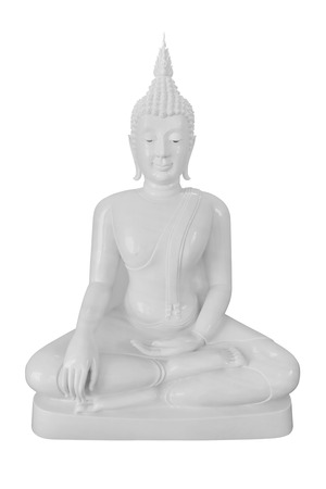 jade buddha temple: Jade Buddha statue on white background