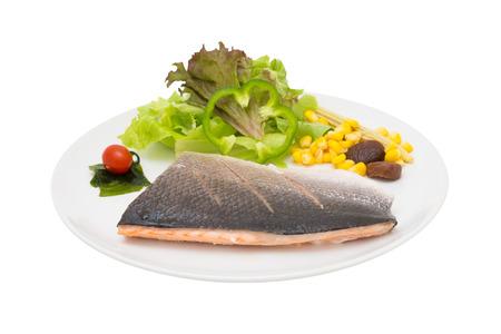 Lachssteak Fischsteak isoliert weißem Hintergrund Standard-Bild - 41650207