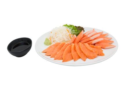 Sashimi sushi Imitation Krebs Krabben-Stick japanisches Essen isoliert weißem Hintergrund shoyu Standard-Bild - 41650210
