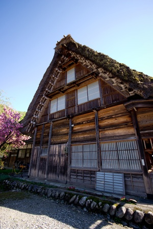 Traditional Japanese house with blue sky