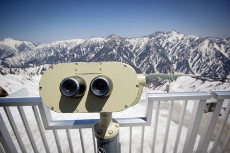 Coin operating binoculars for viewing in Japan at Japan alps