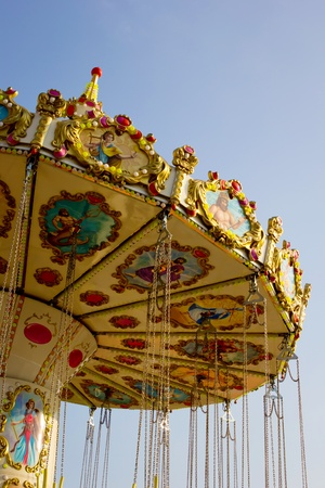 Carousel with blue sky
