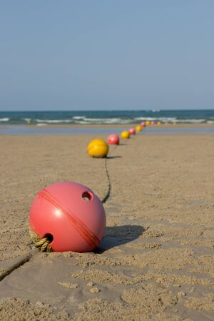 Buoys at sand beach, Huahin,Thailand