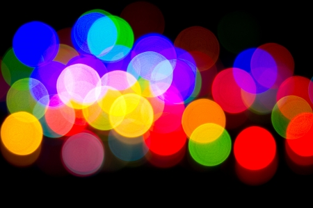 Defocused bokeh image of colorful christmas fairy lights