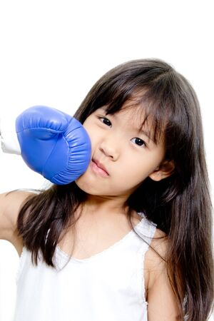 Funny kid boxing action photo
