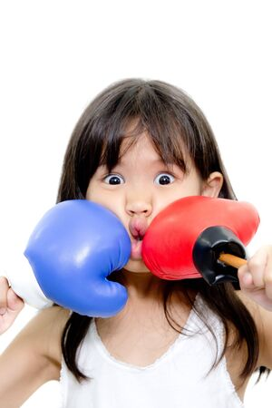 Funny kid boxing action