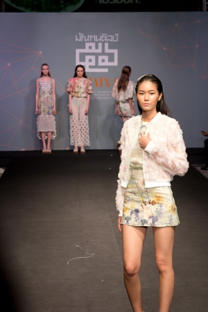 divulge: Bangkok -April 17, A Model walks the runway at Divulge   The final collection of the graduates show from the Fashion Department of Decorative Arts, Silpakorn University on Apirl 17,2013 in Bangkok Editorial
