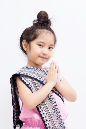 Liitle Asian child welcome expression Sawasdee 스톡 콘텐츠