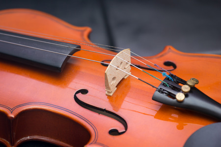 Classic old violin vintage on the leather background Stock Photo
