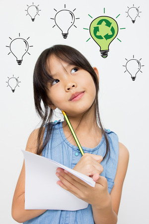 Little Asian girl has many idea of recycle Stock Photo - 29642752