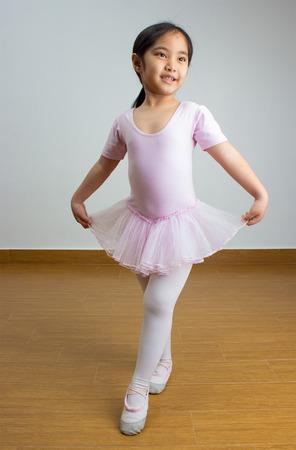 Portrait of little Asian ballerina 스톡 콘텐츠