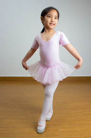 Portrait of little Asian ballerina Stock Photo