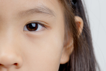 Close up of little Asian child s eye Stock Photo