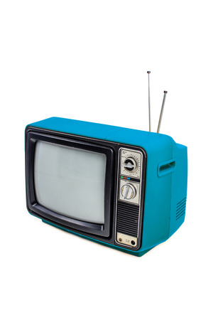 Blue vintage style old television isolated on white Archivio Fotografico