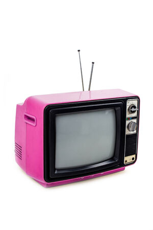 retro: Pink vintage style old television isolated on white