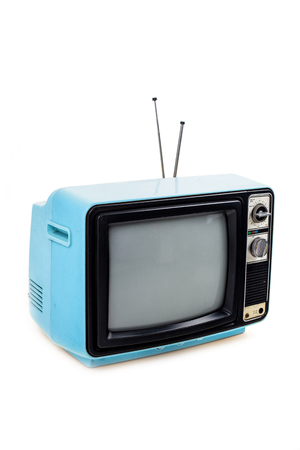 Blue vintage style old television isolated on white Stock Photo