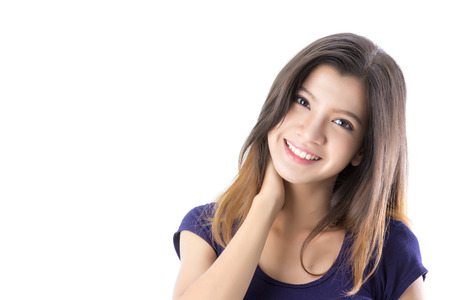 Portrait of happy Asian woman on isolated background