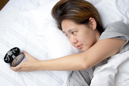 Sleepless Asian young woman 写真素材