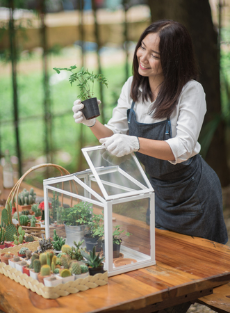 Happy young Asian woman putting plant to mini glass house