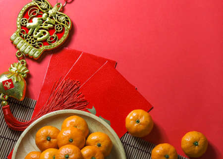 happy chinese new year, top view accessories chinese new year decorations on red background