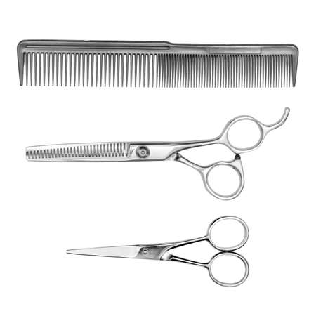 tapering: hairbrush and barber scissors isolated on white background