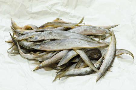 siamensis: stack Macrognathus siamensis drying process in thailand Stock Photo