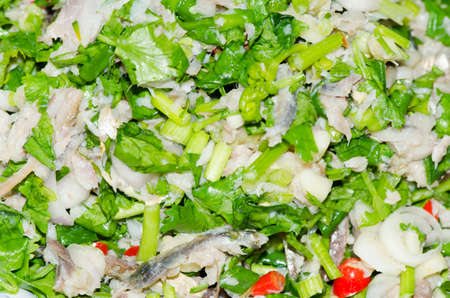 spicy mackerel salad with mix fresh vegetable Stock Photo - 22526683