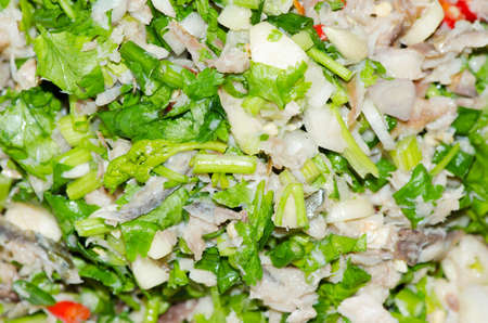spicy mackerel salad with mix fresh vegetable Stock Photo - 22526684