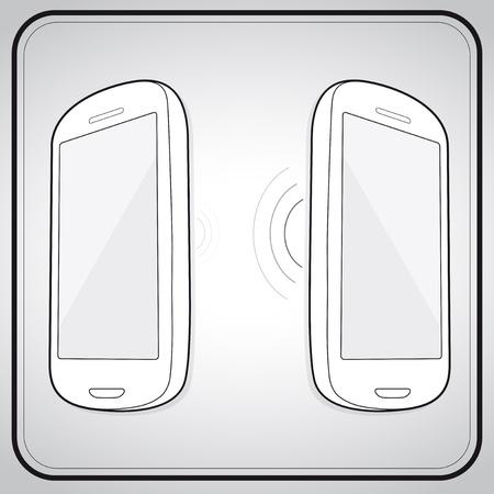 zwei Smartphone-Strahl verbinden Illustration