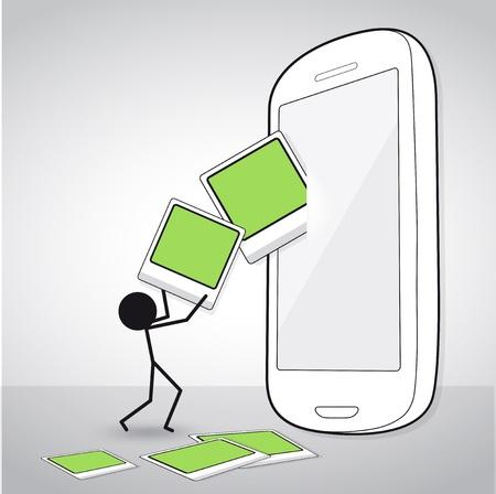 Mann Download hochladen, um Smartphone
