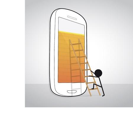 Mann in Bewegung, um Smartphone