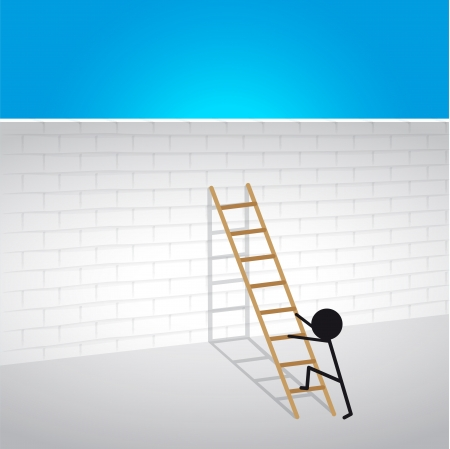 Climb over the wall ladder to success Vector