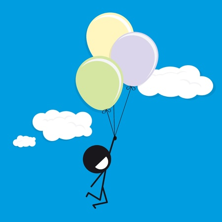 man happy with balloons on blue sky Stock Vector - 22080783