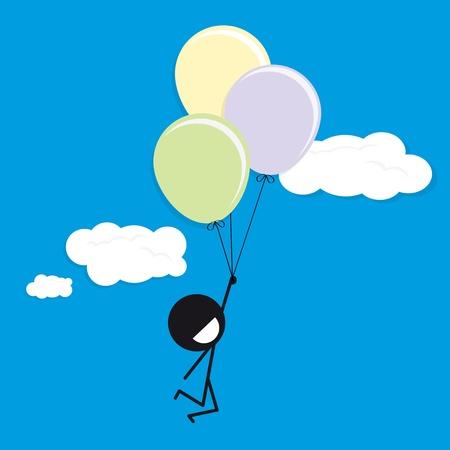 Mann mit Luftballons am blauen Himmel glücklich