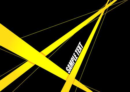escena del crimen: Resumen de la cinta de color amarillo sobre fondo negro