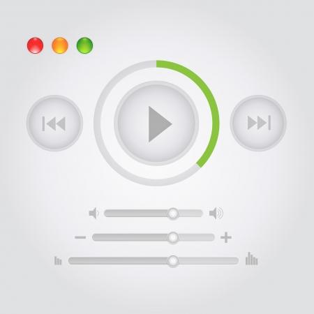 Web-Tasten und Musik steuert Symbole Illustration