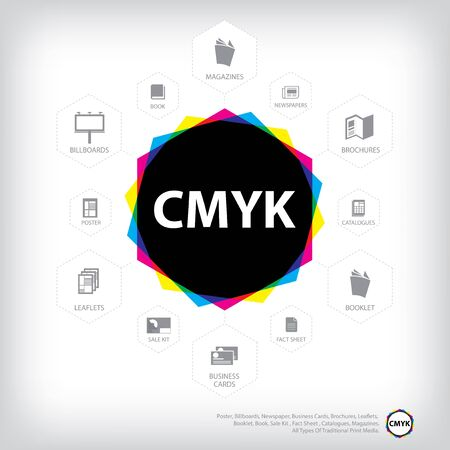 cmyk abstract background, polygon, print color Illustration